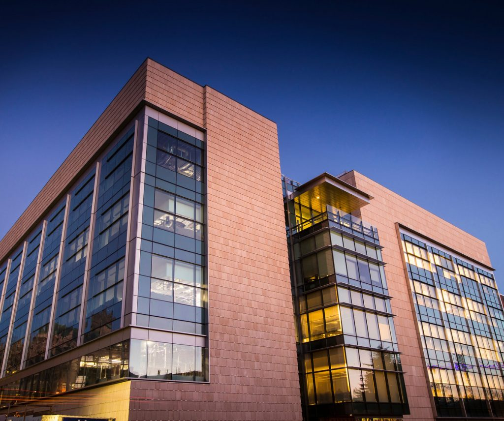 Molecular Engineering and Sciences Building at night